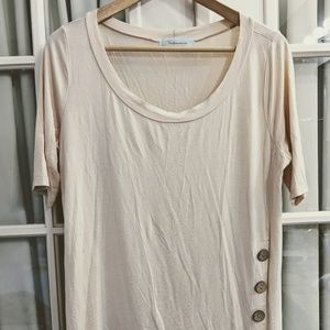 Modcloth Tops - ModCloth Ivory Tunic with Wood Buttons Accent